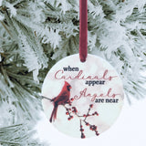 When Cardinals Appear Angles are Near Christmas Ornament - Red Cardinal and Berry Design on White Snowy Background - Remembrance Loving Memory