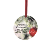 Our First Christmas as Mr. and Mrs. 2020 - Red and Green Xmas Ornament with a Red Shiny Ball and Pine Tree Background - 1st Christmas Married