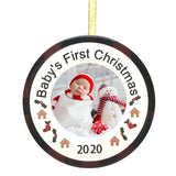 Baby's First Christmas 2020 Ornament - Dated Photo Picture Ornament with Red Buffalo Plain and Holly - New Baby Keepsake Ornaments Newborn Babies