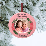 Memorial Christmas Ornament - God Has You in His Keeping I Have You in My Heart Remembrance Saying - Pink Roses Floral and Vine Design - Bereavement Picture Ornament 3.5 Inches