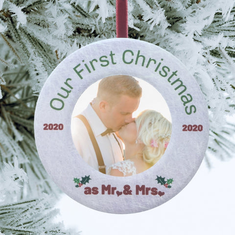 "Ceramic Frame Ornament - Our First Christmas Ornament as Mr. and Mrs. 2020 Dated - Wedding Gifts for Newlyweds - 3.5"" (2225)"