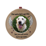 Pet Memorial Christmas Ornament - You Left My Life But You Will Never Leave My Heart - Small Desktop Photo Frame with Velvet Ribbon