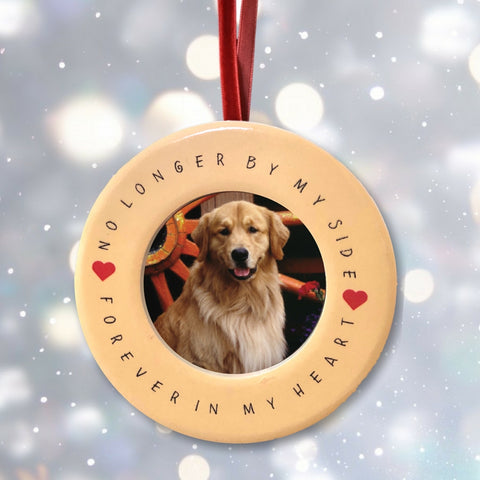 Pet Memorial Christmas Ornament – No Longer By My Side Forever in My Heart