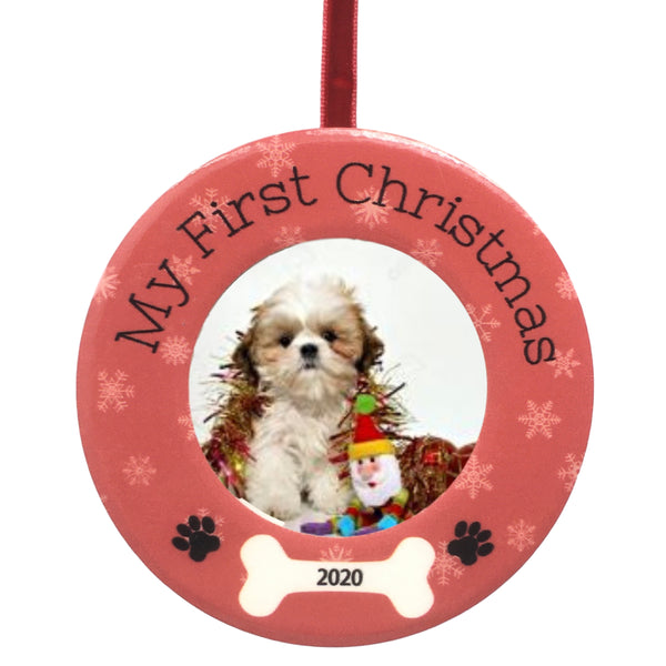 "Puppy's First Christmas – Dated 2020 Ornament with Easel Back – Dog Bone and Paw Print Design – 2"" Picture Opening"
