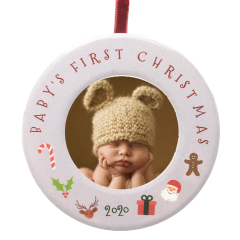 "Baby's First 2020 Christmas Photo Frame Ornament for Newborn - 3 1/2"" Ceramic Photo Frame Baby"