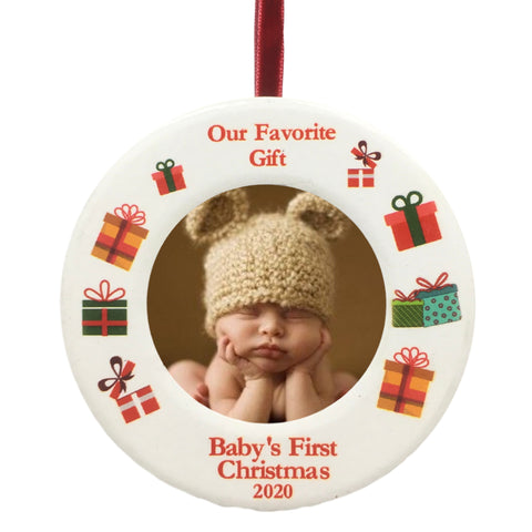 2020 Dated Baby's First Christmas Ornament - Babies Picture Frame Holiday Ornament for Baby - New Baby Gifts for a Boy or Girl