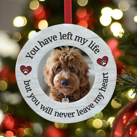 "Pet Memorial Desktop Frame – You Have Left My Life But You Will Never Leave My Heart - Paw Print and Heart Design – 2"" Picture Opening"