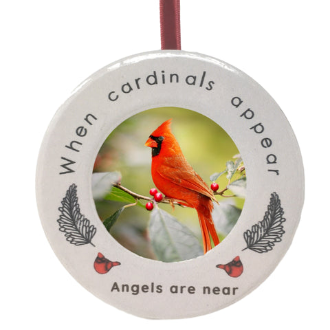 Cardinal Memorial Photo Ornament - When Cardinal Appear Angles are Near Remembrance Saying - Red Cardinals and Feather Design