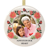 Always in Our Heart Memorial Christmas Ornament - Ceramic Photo Picture Holder - in Loving Memory Condolence Sympathy Bereavement - 3.5 Inch