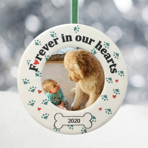 Forever in Our Hearts Pet Memorial Christmas Ornament 2020 - Ceramic Photo Ornament Loss of Dog Gifts