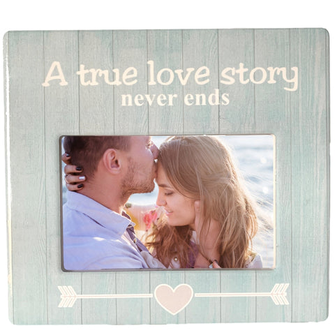 Love Frame - A True Love Story Never Ends - White Washed Blue Barn Board Background - 4 X 6 Just Married Newlywed Wedding Anniversary Engagement…