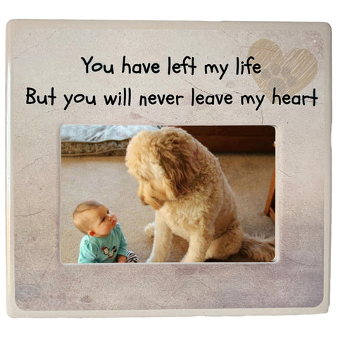 Pet Memorial Picture Frame - You Have Left My Life But You Will Never Leave My Heart - Paw Print and Heart Design - 4 X 6 Photograph Dog or Cat