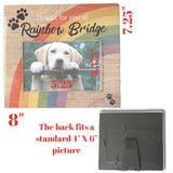 Rainbow Bridge Pet Memorial Frame - I'll Wait for You at Rainbow Bridge - Loss of a Dog or Cat Sympathy Condolence