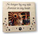 Pet Memorial Ceramic Picture Frame - No Longer by My Side Forever in My Heart - Pet Photo Frame - Pet Sympathy Gift - in Memory of a Pet