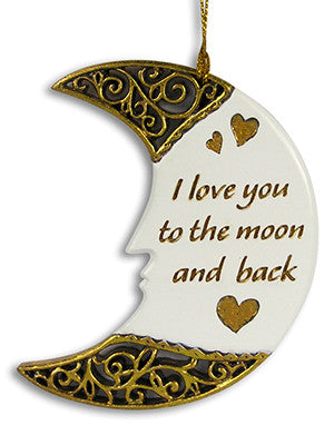 I Love You to the Moon and Back - Decorative Hanging White and Gold Moon