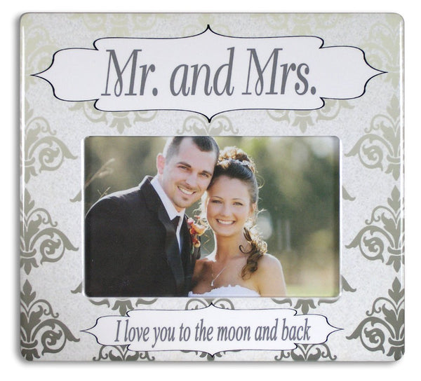BANBERRY DESIGNS Wedding Picture Frame - Mr. & Mrs. Picture Frame with I Love You to The Moon and Back - Husband - Wife - 4 x 6 Photo Frame…