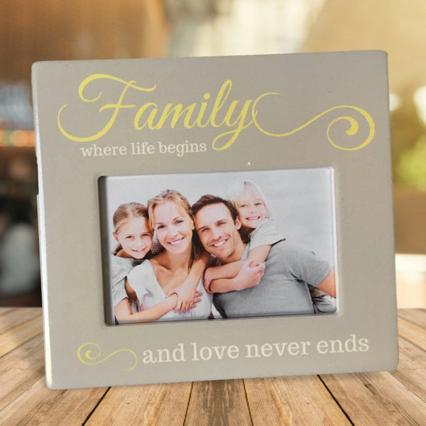 Family Picture Frame - Family Where Life Begins and Love Never Ends Photo Plaque - 4 X 6 Inch Picture Opening - Family Keepsake Frame