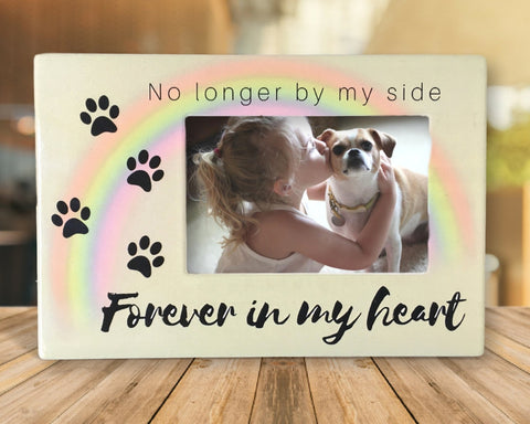 "Pet Memorial Frame - No Longer By My Side Forever In My Heart - 4"" x 6"" Picture Frame For a Dog or a Cat"