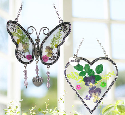 Grandma Butterfly - Heart Sun Catcher with Grandmother Charm - Combo Pack of Pressed Flower Suncatchers