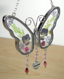 Butterfly Suncatcher - Grandma Engraved on a Hanging Heart Charm(2416)