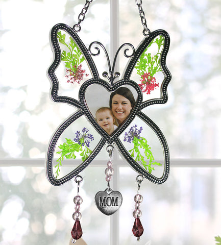 Butterfly Suncatcher - Mom Butterfly with Pressed Flowers and a Heart Shaped Picture Opening - Mother Sun Catcher(2419-1)