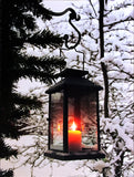 Light Up Winter Scene Canvas Print with Glowing Black Lantern