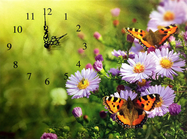 Butterfly Themed Canvas Clock - Colorful Butterflies and Purle Daiseys