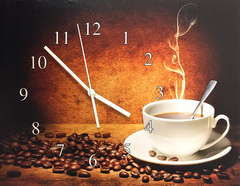 Coffee Clock - Canvas Clock with Coffee Theme