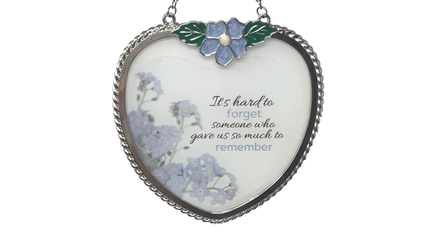 Memorial Suncatcher - Periwinkle Blue Flower Charm and Forget Me Not Floral Design Printed on Glass - Approx. 4 Inch