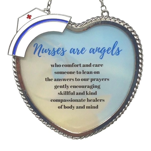Nurse Sun Catcher - Nurses are Angels Saying Printed on Glass Heart Suncatcher - Nurse's Hat Accent - Approx. 4.5 Inches