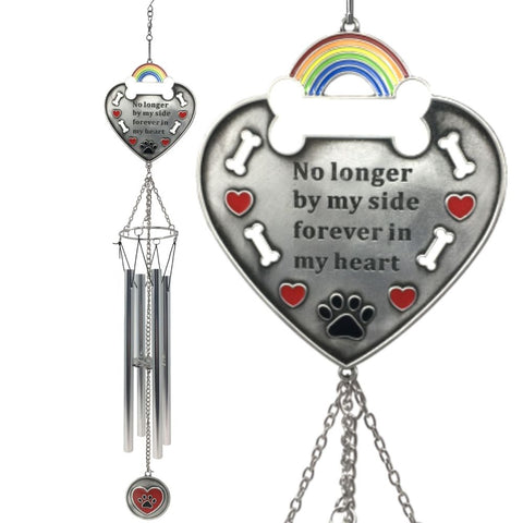 BANBERRY DESIGNS Dog Wind Chimes - Rainbow Bridge Memorial Theme with No Longer by My Side - Approx. 20 Inch