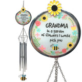 Grandmother Wind Chimes - Loving Saying Grandma in a Garden of Flowers I Would Pick You - Colorful Bee, Sunflower and Floral Design