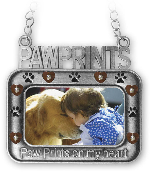 Pet Remembrance Ornament - Pet Picture Ornaments - Paw Prints on Your Heart