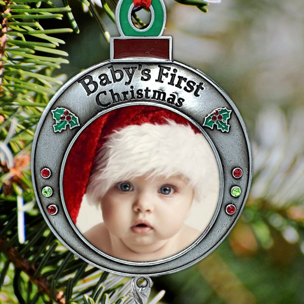 Baby's First Christmas Keepsake- 2020 Dated Ornament for Newborn- Red and Green Picture Frame Ornament Shaped Like an Ornament Bulb -Baby Ornaments