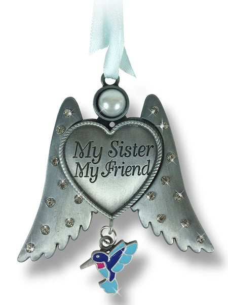 Sister Angel Wings Ornament with Humming Bird Charm