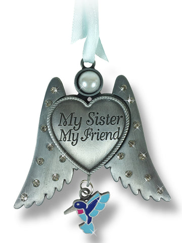 Sister Angel Wings Ornament with Humming Bird Charm(2863)