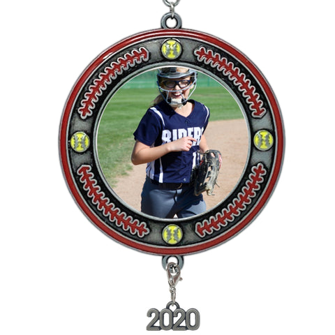 Softball Picture Frame- Christmas Ornament Dated 2020 Keepsake - Sports Team Photo Holder Ornament