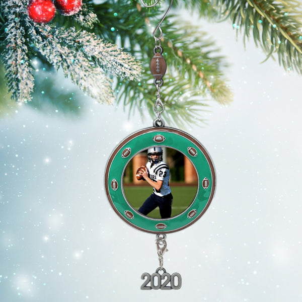Football Picture Frame- Christmas Ornament Dated 2020 Keepsake - Sports Team Photo Holder Ornament