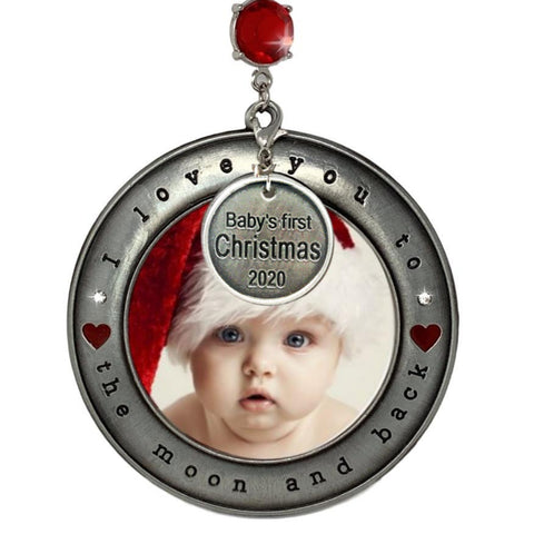Baby's First Christmas 2020 - Picture Frame Ornament I Love You to the Moon and Back - Dated Charm Babys 1st Christmas Holiday Season