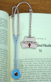 Nurse Bookmark Metal with Nurses Hat Charm Jeweled and Enameled Nurses Day Gift Idea - 5 Inch