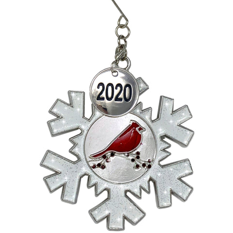 2020 Dated Christmas Ornament - White Glittered Snowflake with Cardinal Design - Memorial Ornament
