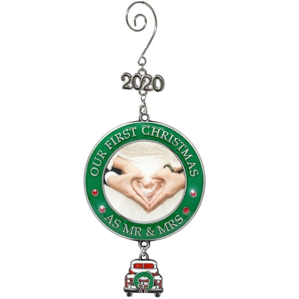 Wedding Ornament - Our First Christmas as Mr & Mrs Dated 2020 – Xmas Picture Ornament with Vintage Red Truck Design - Newlyweds