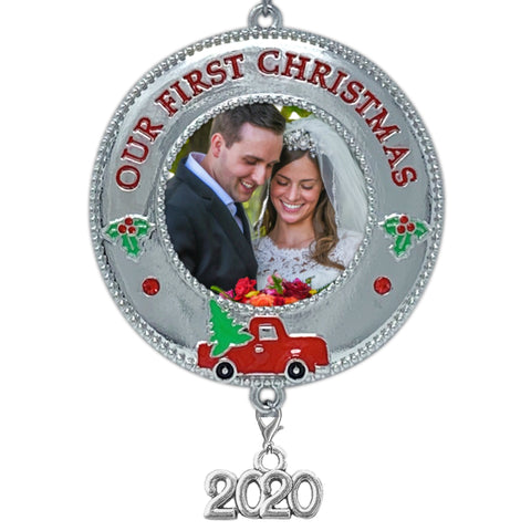 2019 Our First Christmas Ornament – Keepsake Photo Frame with Vintage Red Truck Design- Couples 1st Xmas Picture Ornaments