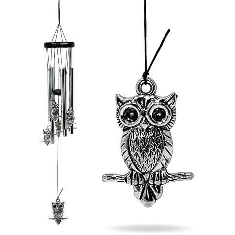 "Owl Wind Chime - 25"" Outdoor Indoor Silver Owls Windchimes– Mobile Musical Wind Catcher for Garden Decoration – Wind Bell Gifts"
