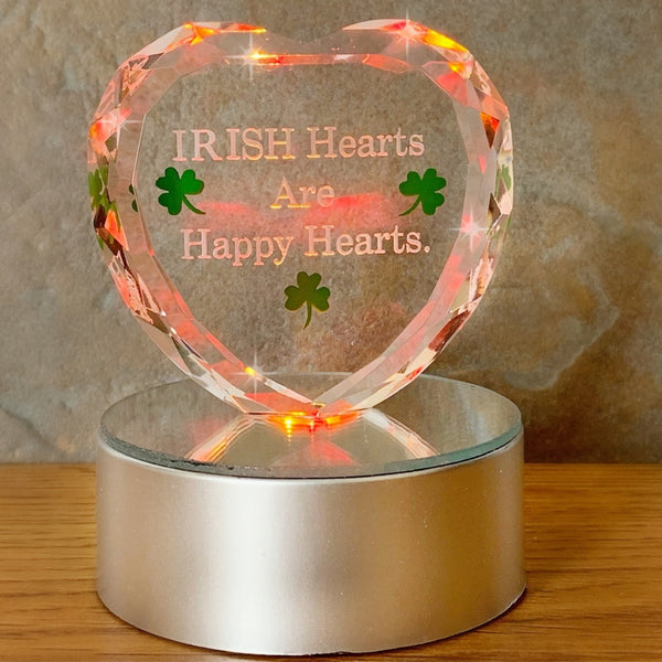 Irish LED Glass Heart(198)
