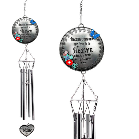 Memorial Wind Chimes - Because Someone We Love is in Heaven - Butterfly and Flower Design Garden Wind Chime Heart Charm