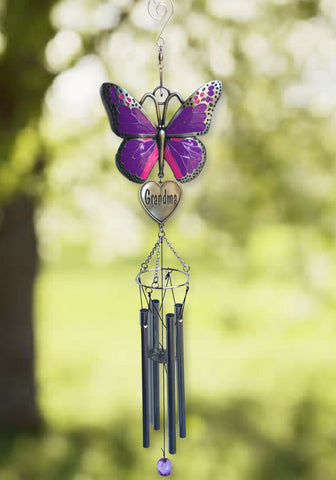 Grandma Windchime - Purple Butterfly Wind Chime Design with Engraved Grandmother Heart - Garden Wind Chimes