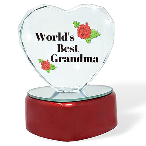 World's Best Grandma LED Lighted Heart Gift