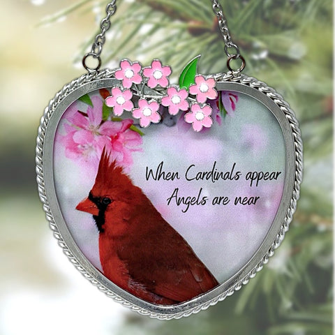 Memorial Cardinal Suncatcher - When Cardinals Appear Angels are Near Saying - Heart Shaped Glass Sun Catcher with Cardinal and Spring Scene