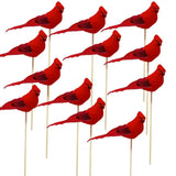 Cardinal Floral Picks - Red Cardinal Birds on a Wooden Stick - Set of 12 Birds Attached to Stems - Red Birds Centerpieces - Christmas DIY